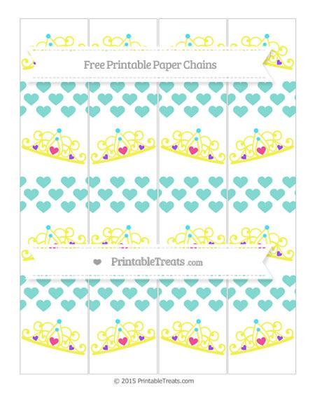 Free Tiffany Blue Heart Pattern Princess Tiara Paper Chains