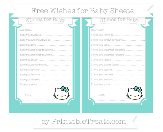 Free Tiffany Blue Hello Kitty Wishes for Baby Sheets