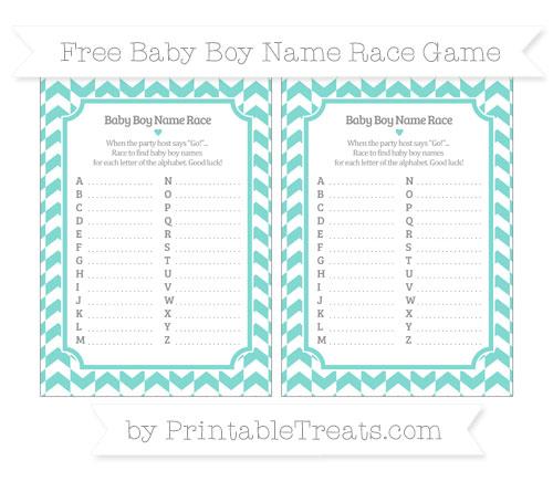 Free Tiffany Blue Herringbone Pattern Baby Boy Name Race Game