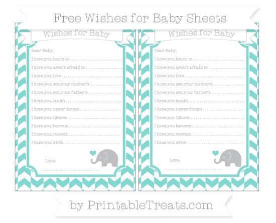 Free Tiffany Blue Herringbone Pattern Baby Elephant Wishes for Baby Sheets
