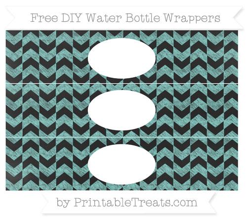 Free Tiffany Blue Herringbone Pattern Chalk Style DIY Water Bottle Wrappers