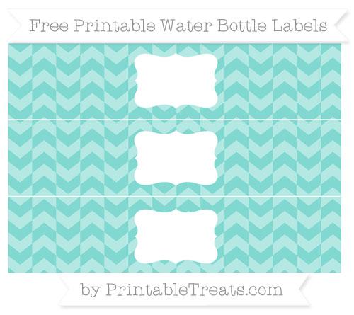 Free Tiffany Blue Herringbone Pattern Water Bottle Labels