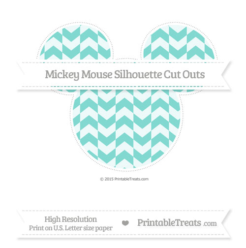 Free Tiffany Blue Herringbone Pattern Extra Large Mickey Mouse Silhouette Cut Outs