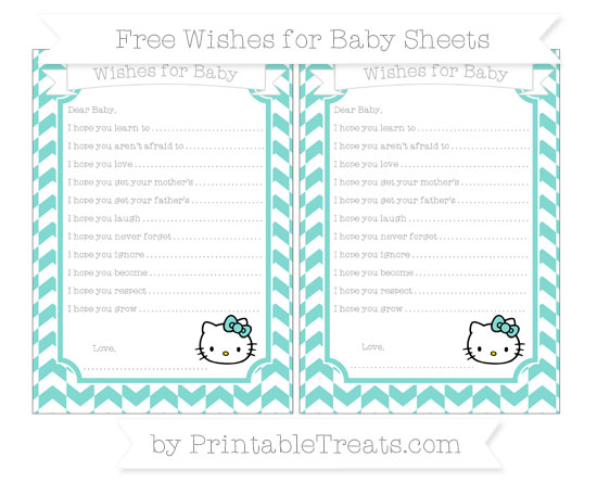 Free Tiffany Blue Herringbone Pattern Hello Kitty Wishes for Baby Sheets