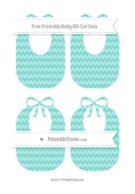 Free Tiffany Blue Herringbone Pattern Medium Baby Bib Cut Outs