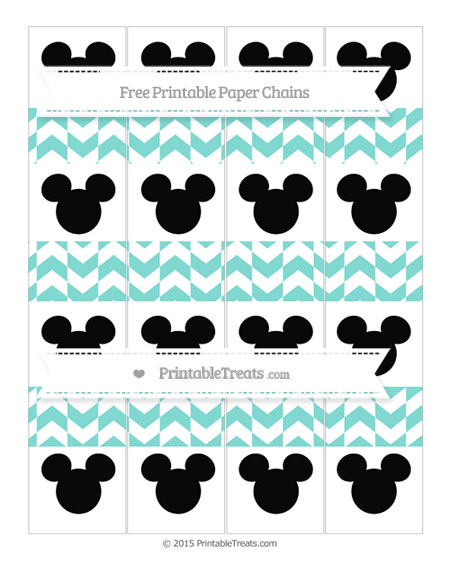 Free Tiffany Blue Herringbone Pattern Mickey Mouse Paper Chains