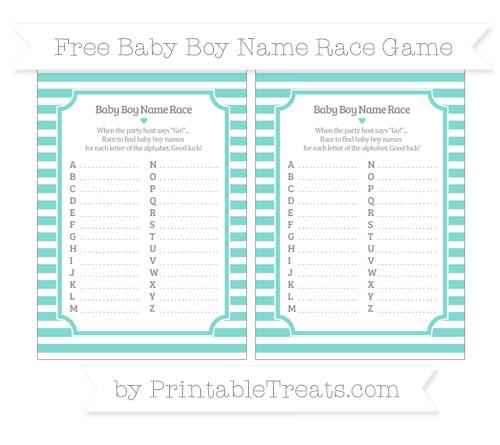 Free Tiffany Blue Horizontal Striped Baby Boy Name Race Game