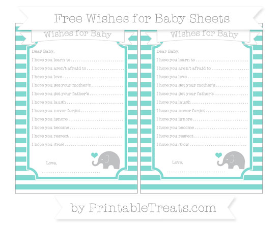 Free Tiffany Blue Horizontal Striped Baby Elephant Wishes for Baby Sheets