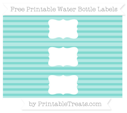 Free Tiffany Blue Horizontal Striped Water Bottle Labels