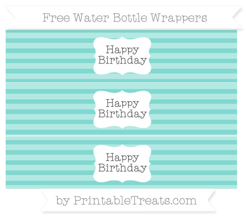 Free Tiffany Blue Horizontal Striped Happy Birhtday Water Bottle Wrappers