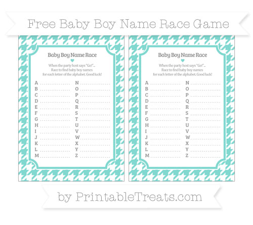 Free Tiffany Blue Houndstooth Pattern Baby Boy Name Race Game