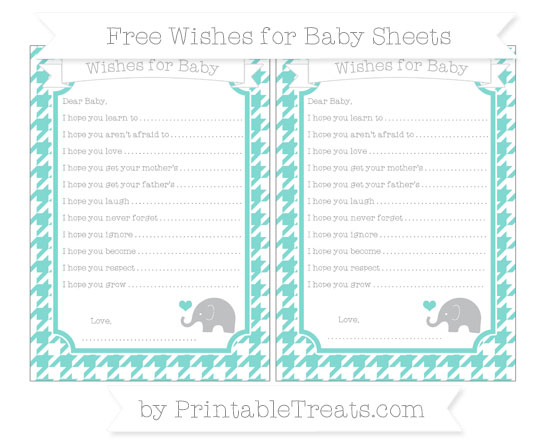 Free Tiffany Blue Houndstooth Pattern Baby Elephant Wishes for Baby Sheets