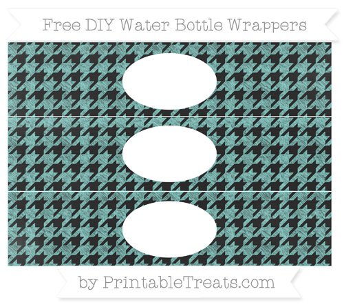 Free Tiffany Blue Houndstooth Pattern Chalk Style DIY Water Bottle Wrappers