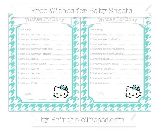 Free Tiffany Blue Houndstooth Pattern Hello Kitty Wishes for Baby Sheets