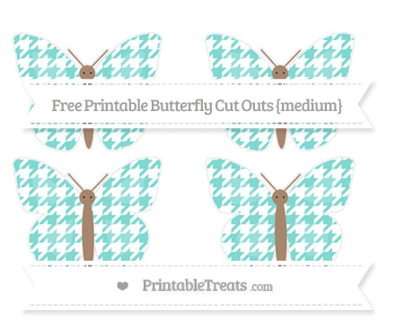 Free Tiffany Blue Houndstooth Pattern Medium Butterfly Cut Outs