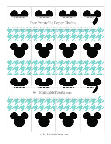 Free Tiffany Blue Houndstooth Pattern Mickey Mouse Paper Chains