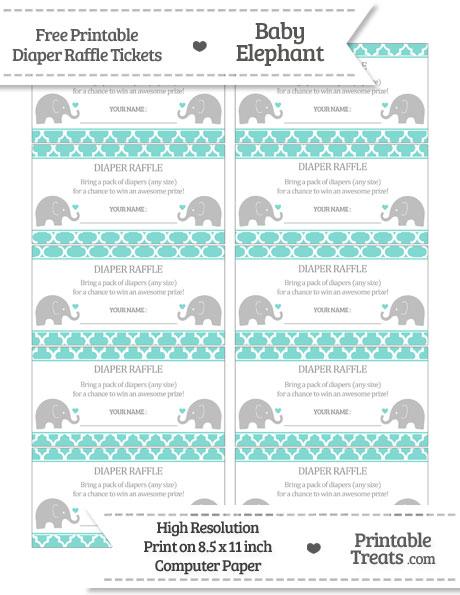 Free Tiffany Blue Moroccan Tile Baby Elephant Diaper Raffle Tickets