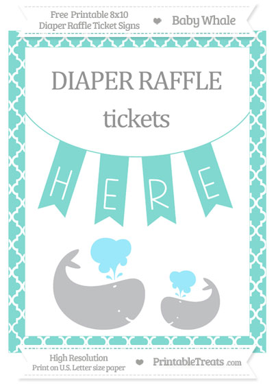 Free Tiffany Blue Moroccan Tile Baby Whale 8x10 Diaper Raffle Ticket Sign