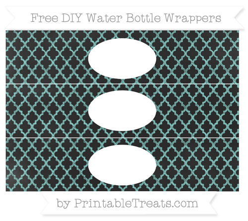 Free Tiffany Blue Moroccan Tile Chalk Style DIY Water Bottle Wrappers