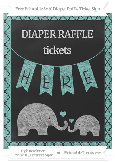 Free Tiffany Blue Moroccan Tile Chalk Style Elephant 8x10 Diaper Raffle Ticket Sign