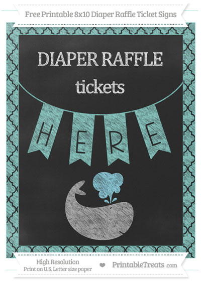 Free Tiffany Blue Moroccan Tile Chalk Style Whale 8x10 Diaper Raffle Ticket Sign