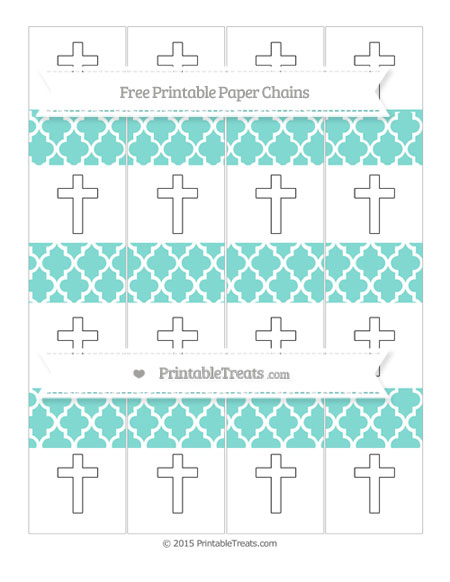 Free Tiffany Blue Moroccan Tile Cross Paper Chains