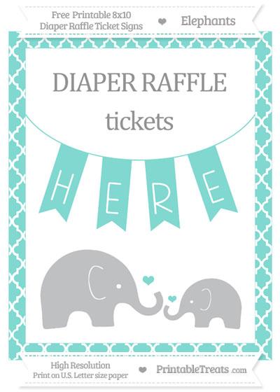 Free Tiffany Blue Moroccan Tile Elephant 8x10 Diaper Raffle Ticket Sign