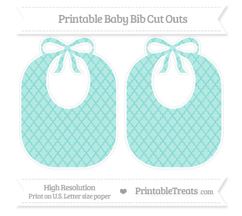 Free Tiffany Blue Moroccan Tile Large Baby Bib Cut Outs