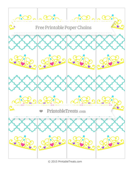 Free Tiffany Blue Moroccan Tile Princess Tiara Paper Chains