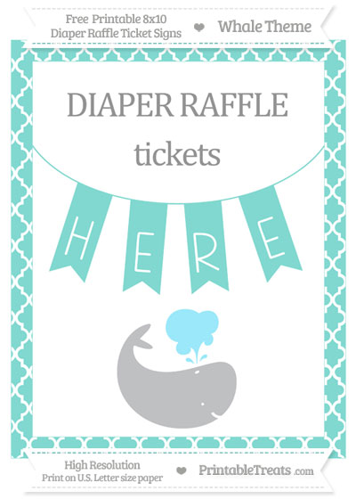 Free Tiffany Blue Moroccan Tile Whale 8x10 Diaper Raffle Ticket Sign