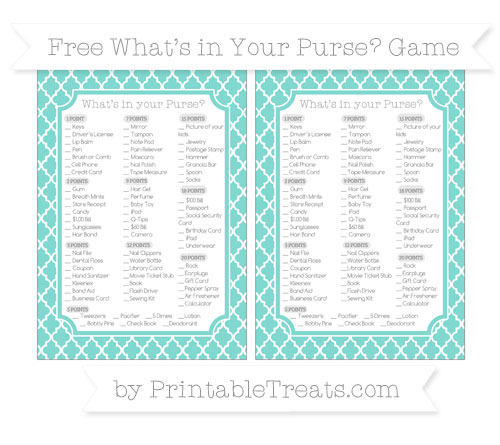 Free Tiffany Blue Moroccan Tile What's in Your Purse Baby Shower Game