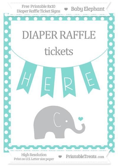 Free Tiffany Blue Polka Dot Baby Elephant 8x10 Diaper Raffle Ticket Sign