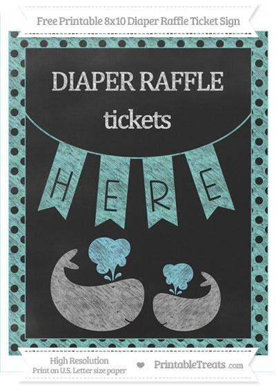 Free Tiffany Blue Polka Dot Chalk Style Baby Whale 8x10 Diaper Raffle Ticket Sign