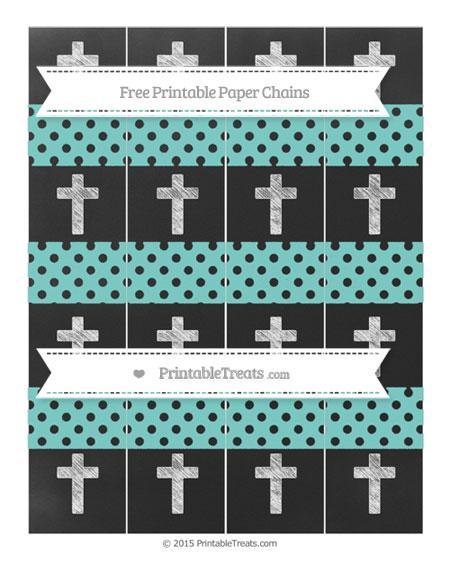 Free Tiffany Blue Polka Dot Chalk Style Cross Paper Chains