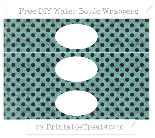 Free Tiffany Blue Polka Dot Chalk Style DIY Water Bottle Wrappers