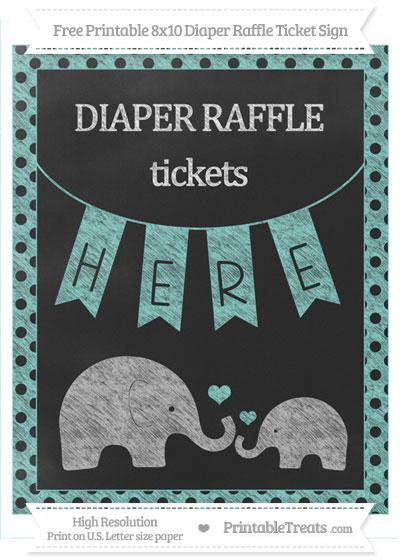 Free Tiffany Blue Polka Dot Chalk Style Elephant 8x10 Diaper Raffle Ticket Sign