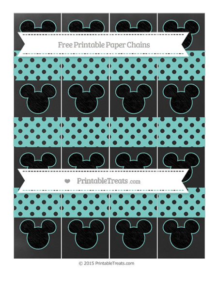 Free Tiffany Blue Polka Dot Chalk Style Mickey Mouse Paper Chains