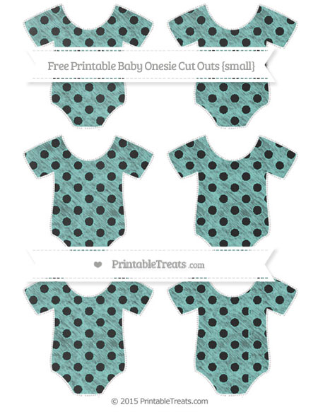 Free Tiffany Blue Polka Dot Chalk Style Small Baby Onesie Cut Outs