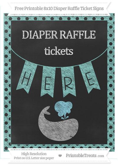 Free Tiffany Blue Polka Dot Chalk Style Whale 8x10 Diaper Raffle Ticket Sign