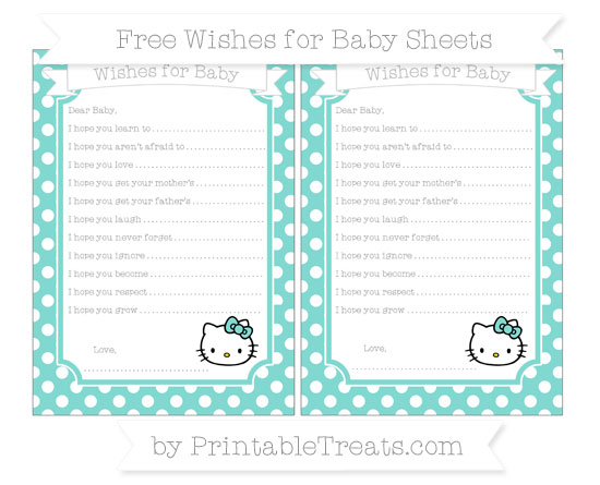 Free Tiffany Blue Polka Dot Hello Kitty Wishes for Baby Sheets
