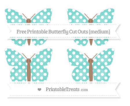 Free Tiffany Blue Polka Dot Medium Butterfly Cut Outs