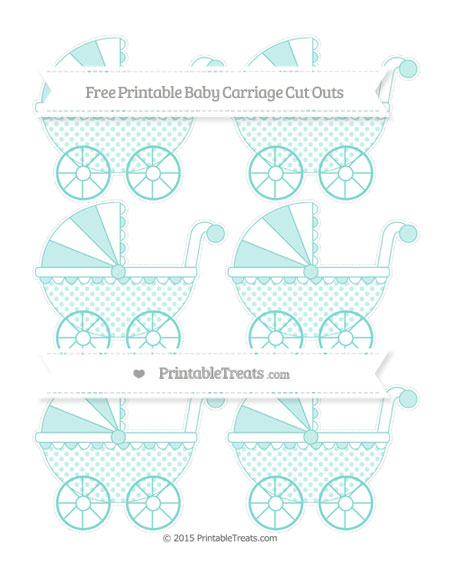 Free Tiffany Blue Polka Dot Small Baby Carriage Cut Outs