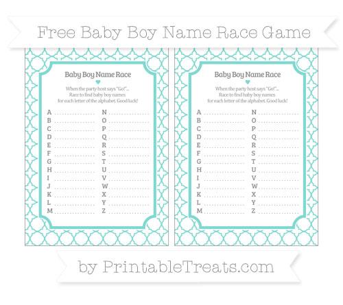 Free Tiffany Blue Quatrefoil Pattern Baby Boy Name Race Game