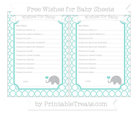 Free Tiffany Blue Quatrefoil Pattern Baby Elephant Wishes for Baby Sheets