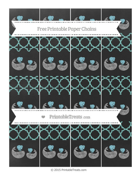 Free Tiffany Blue Quatrefoil Pattern Chalk Style Baby Whale Paper Chains