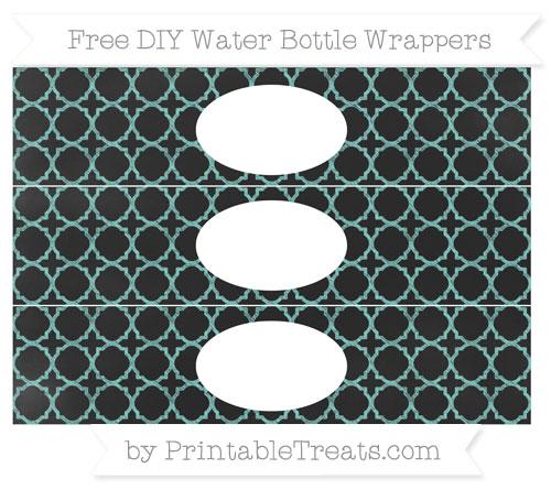 Free Tiffany Blue Quatrefoil Pattern Chalk Style DIY Water Bottle Wrappers