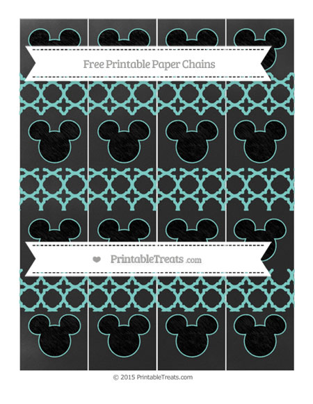Free Tiffany Blue Quatrefoil Pattern Chalk Style Mickey Mouse Paper Chains