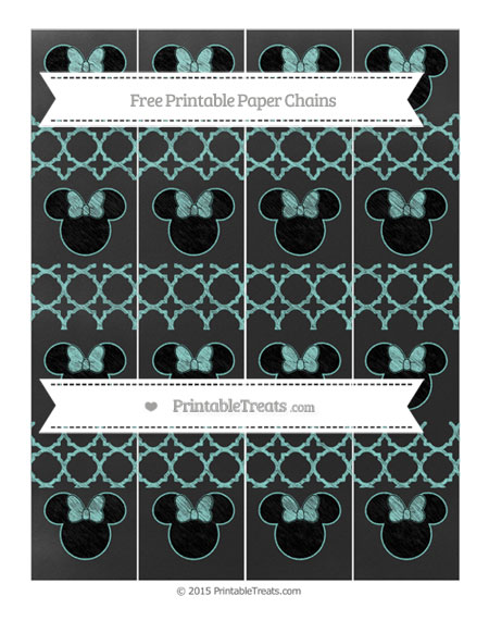 Free Tiffany Blue Quatrefoil Pattern Chalk Style Minnie Mouse Paper Chains