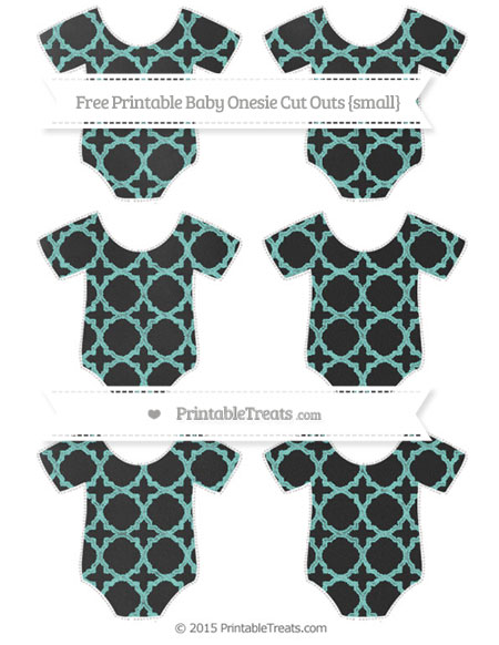 Free Tiffany Blue Quatrefoil Pattern Chalk Style Small Baby Onesie Cut Outs