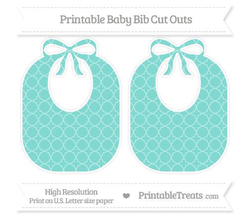 Free Tiffany Blue Quatrefoil Pattern Large Baby Bib Cut Outs